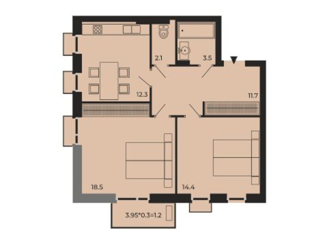 2-комнатная квартира в ЖК Бисквитный
