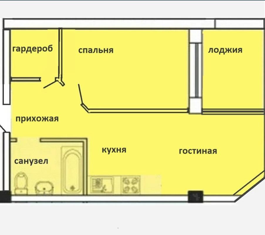 1-комнатная квартира с ремонтом в ЖК Малинки