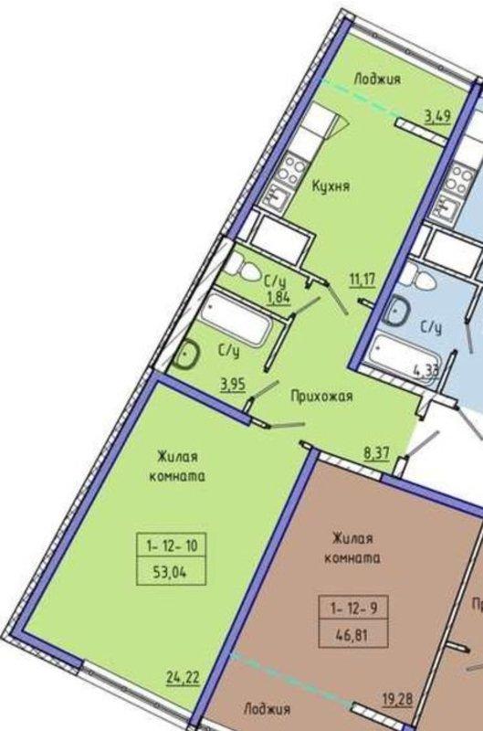 1-комнатная двухсторонняя квартира в 48 Жемчужине